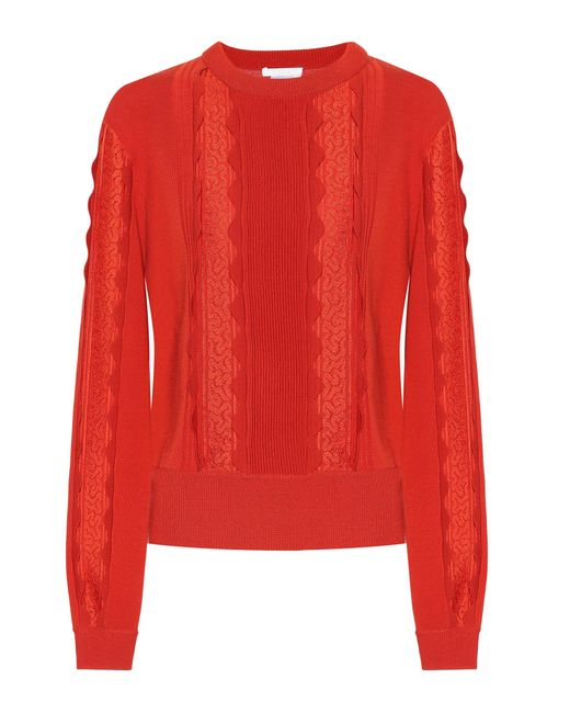 Chloé - Orange Lace-trimmed Wool Sweater - Lyst