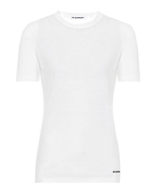 Jil Sander Camiseta de algodón de mujer de color blanco