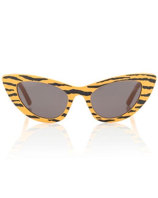 Saint Laurent Yellow Tiger-print Cat-eye Sunglasses