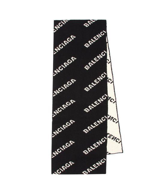 Balenciaga Black Allover Logo Scarf