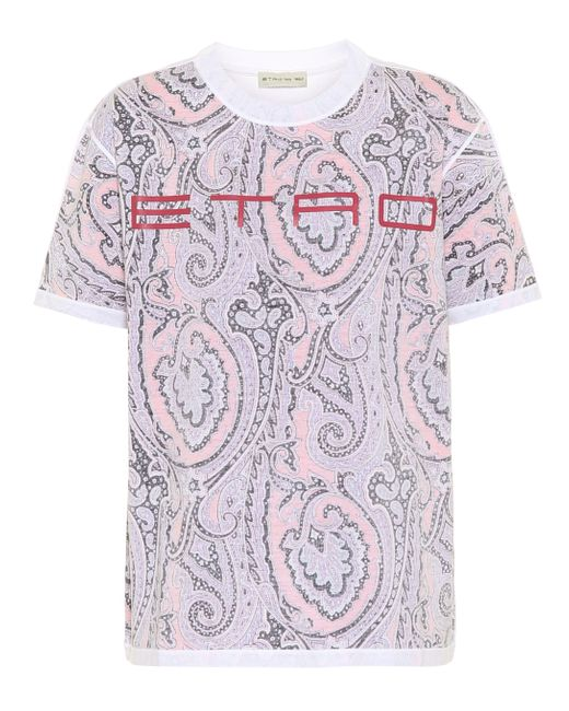 Etro Camiseta de algodón con logo de mujer de color rosa bqNfU