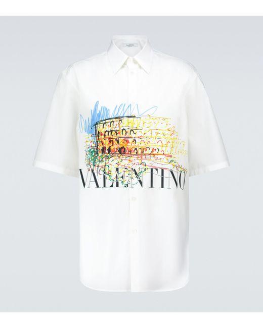 Valentino White Printed Cotton Bowling Shirt