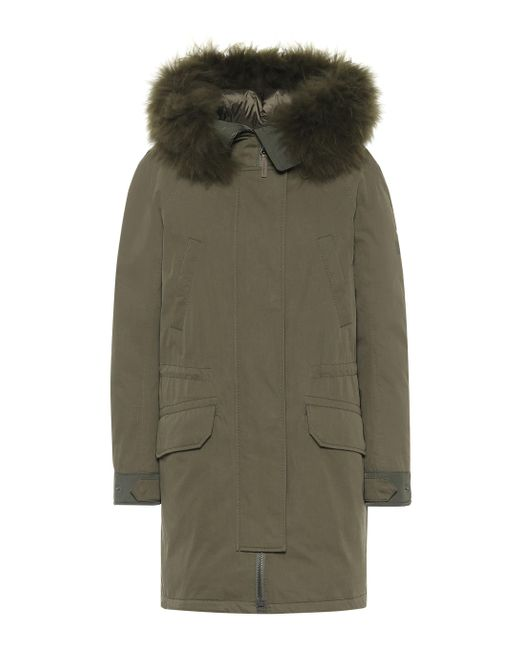 Yves Salomon Green Army Shearling-trimmed Down Parka