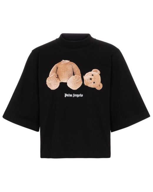 T-shirt oversize in cotone con stampa di Palm Angels in Black