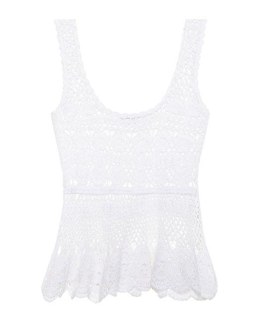 Anna Kosturova Top de algodón de croché de mujer de color blanco