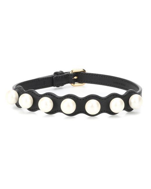 Fendi - Black Ribbons And Pearls Choker - Lyst