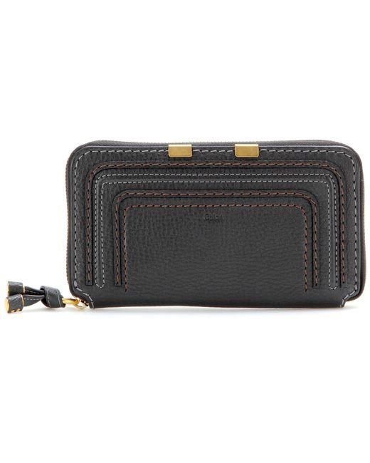 Chloé - Black Marcie Zip-around Leather Wallet - Lyst