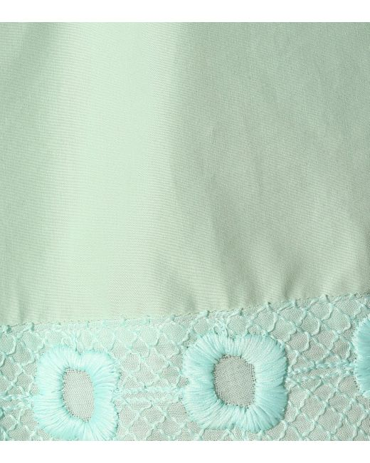 Fendi Women's Green Embroidered Cotton Shorts