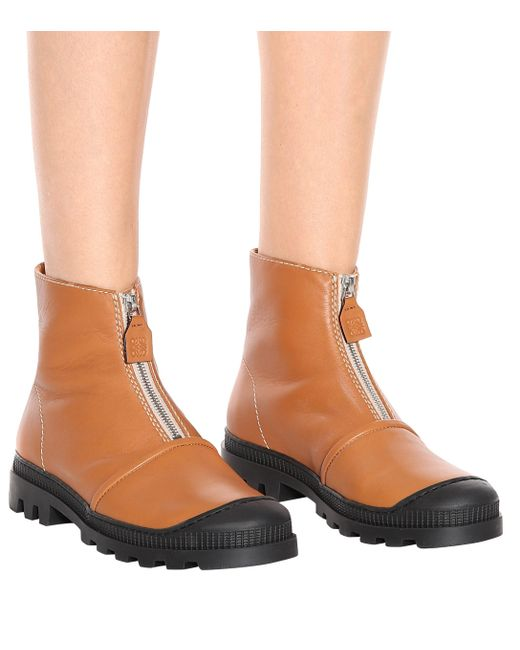 5f03044974084 Loewe Zip Front Leather Ankle Boots in Brown - Save 44% - Lyst