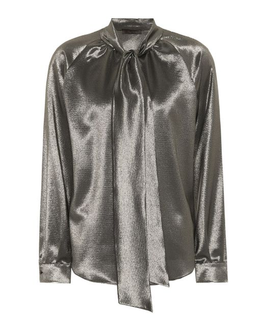 Max Mara Metallic Stretch Silk Blouse