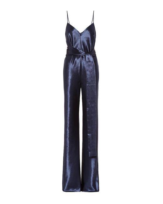 Jumpsuit Slouchy in raso di Galvan in Blue
