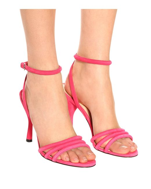 Prada Pink Sandalen aus Veloursleder