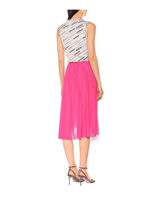 Jupe asymétrique en jersey stretch à dentelle Balenciaga en coloris Pink