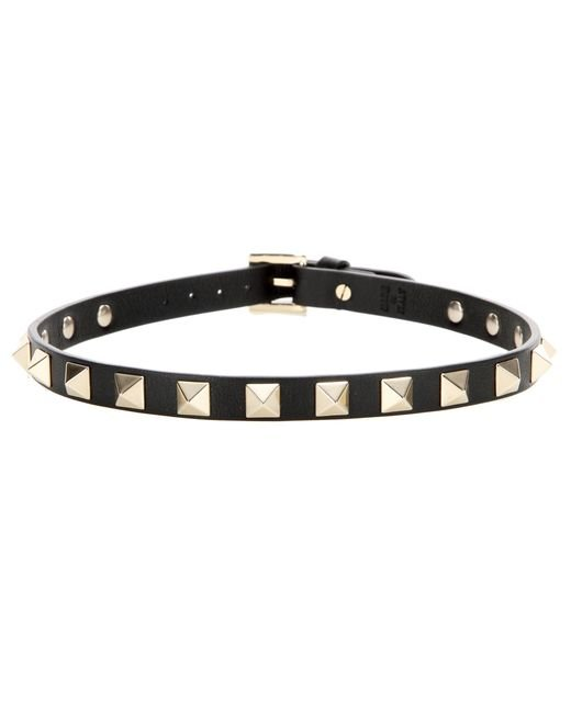 Valentino | Black Rockstud Leather Bracelet | Lyst