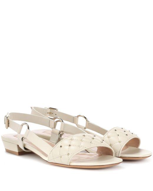 Valentino - White Rockstud Leather Sandals - Lyst