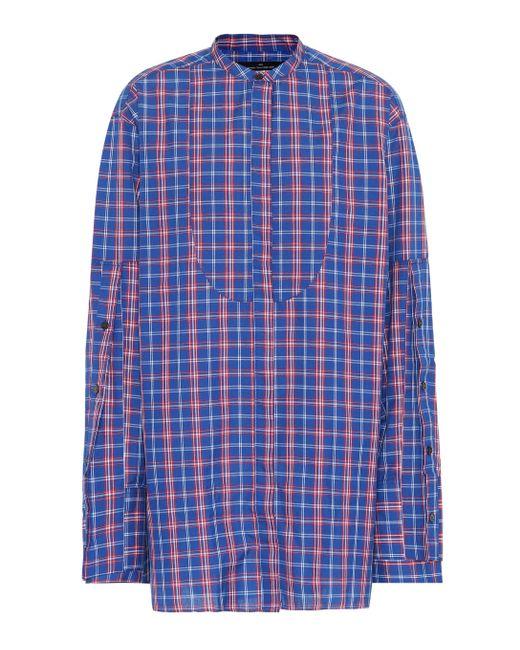 ROKH Camisa de algodón de cuadros de mujer de color azul ZgOXT