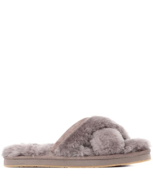 30beac1a61b UGG Abela Shearling Slippers in Gray - Lyst