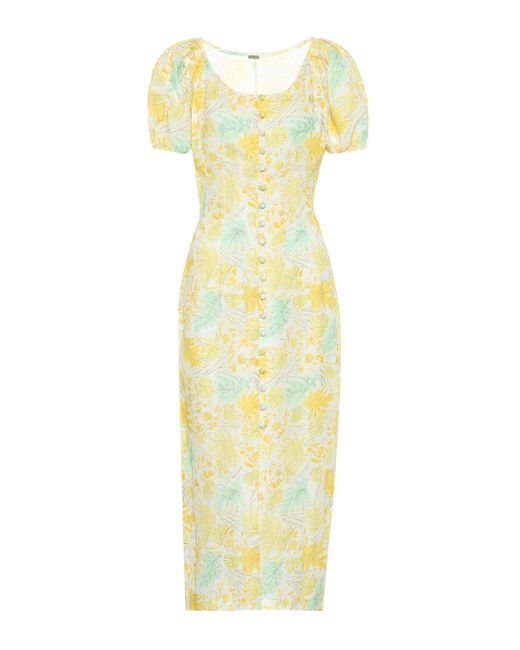 Cult Gaia Yellow Charlotte Floral Linen Dress