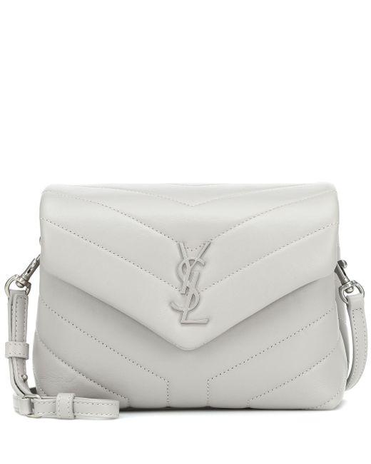 Saint Laurent Gray Loulou Toy Monogram Leather Shoulder Bag