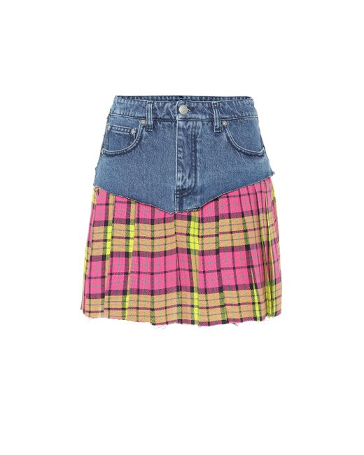 Vetements - Blue Denim And Plaid Miniskirt - Lyst