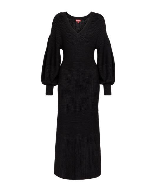 Staud Black Carnation Ribbed-knit Midi Dress