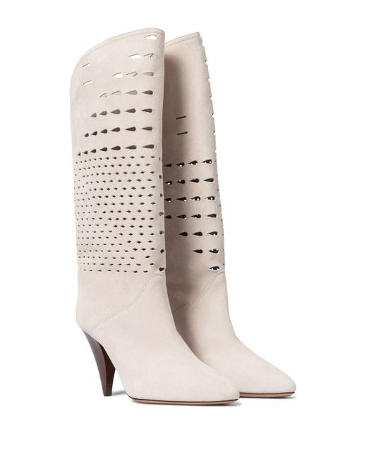 Isabel Marant White Lurrey Suede Knee-high Boots