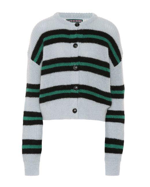 AlexaChung Blue Striped Wool-blend Cardigan