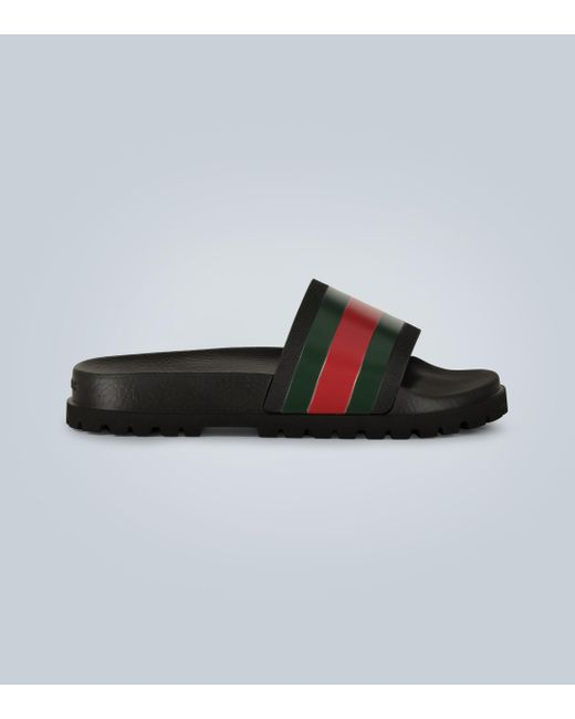 Gucci Black Striped Web Slide Sandals for men