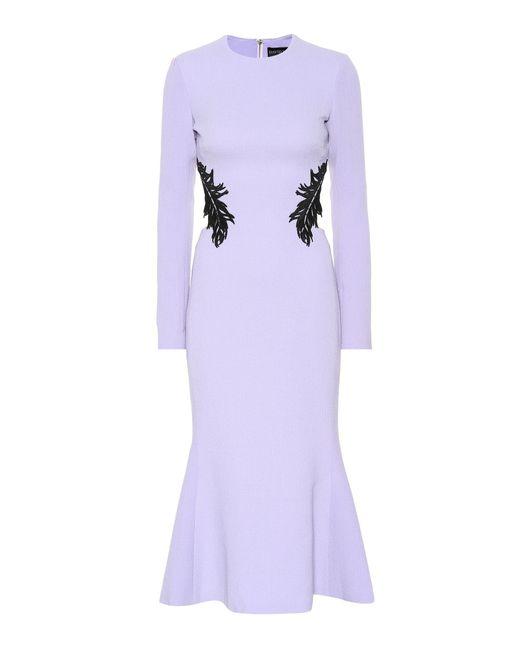 David Koma Purple Wool-blend Crêpe Dress