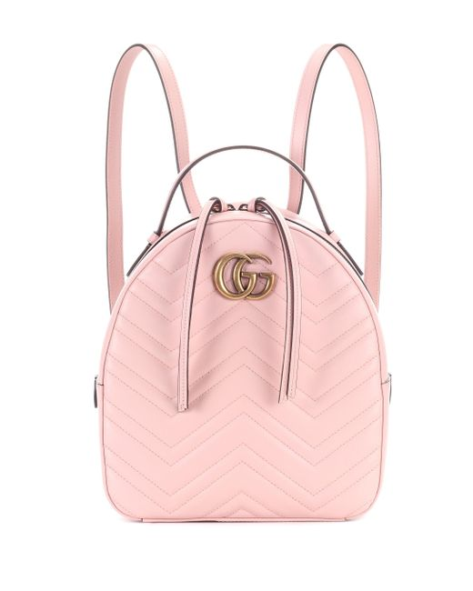 fcdc167fd7fb Gucci - Pink GG Marmont Matelassé Leather Backpack - Lyst ...