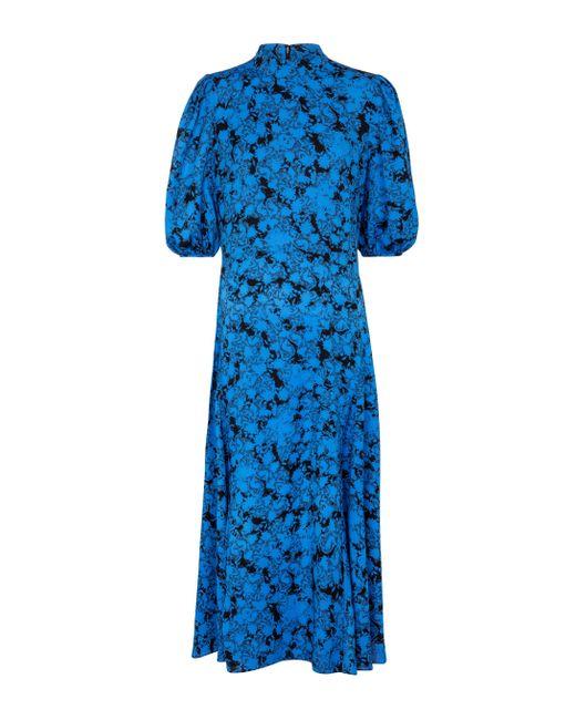Diane von Furstenberg Blue Midikleid Nella aus Crêpe