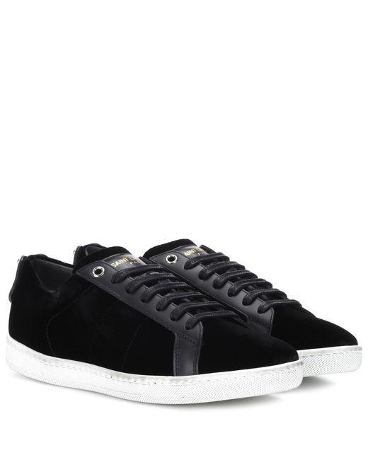 Saint Laurent | Black Sl/06 Court Classic Velvet Sneakers | Lyst