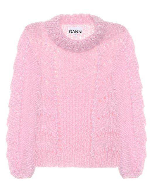 Pullover in lana e mohair di Ganni in Pink