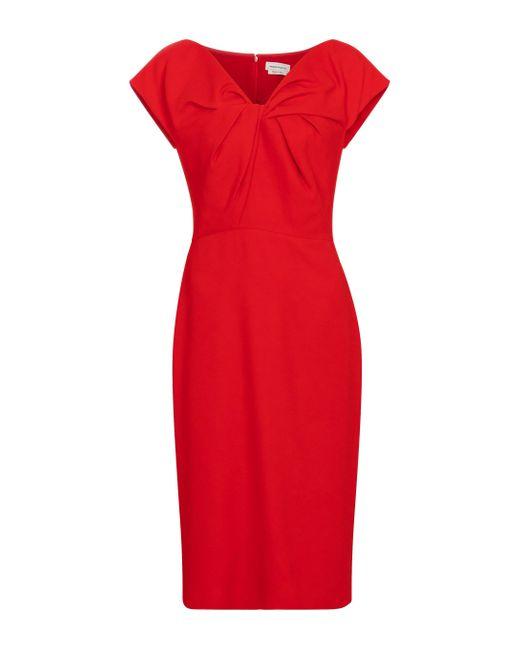 Vestido midi con cuello en V Alexander McQueen de color Red