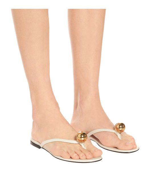 Jil Sander Women's White Leather Thong Sandals