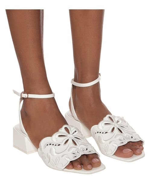 Sophia Webster White Cassia Leather Sandals