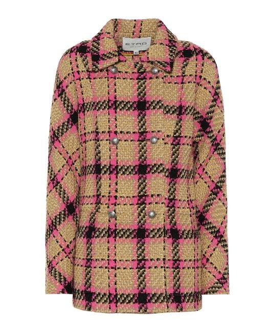 Etro - Natural Plaid Wool-blend Jacket - Lyst