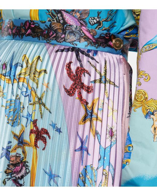 Versace Blue Trésor De La Mer Pleated Satin Midi Skirt
