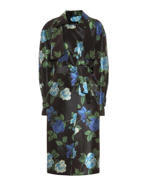 Richard Quinn Black Floral Satin Trench Coat