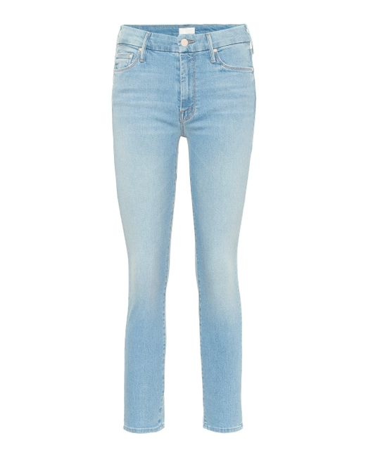 Mother Blue The Looker Cropped Skinny Jeans