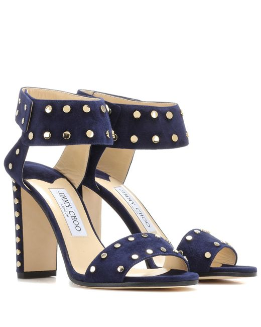 Jimmy Choo | Blue Veto 100 Embellished Leather Sandals | Lyst