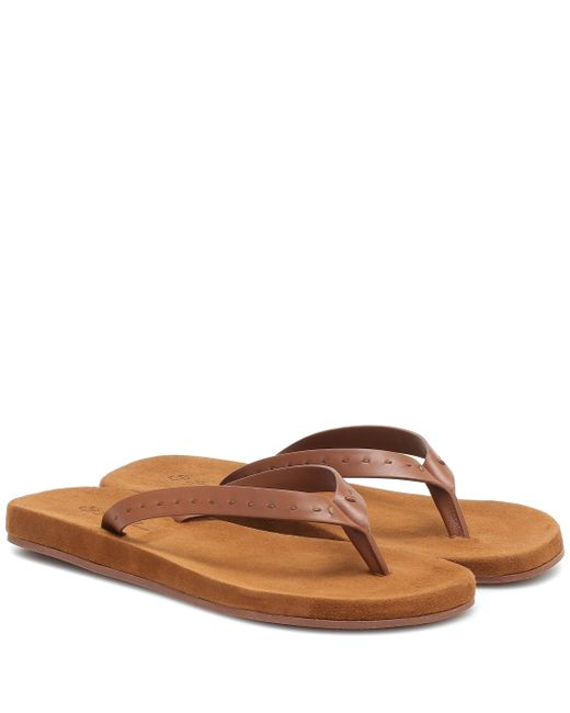 Loro Piana Brown My Lp Suede Thong Sandals