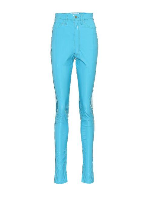 Maison Margiela Blue Vinyl Skinny Jeans