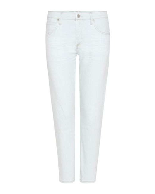 Citizens of Humanity | White Elsa Mid-rise Cropped Slim Jeans | Lyst