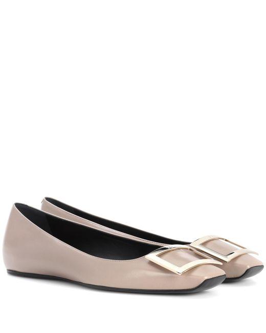 Roger Vivier - Gray Belle Vivier Leather Ballerinas - Lyst