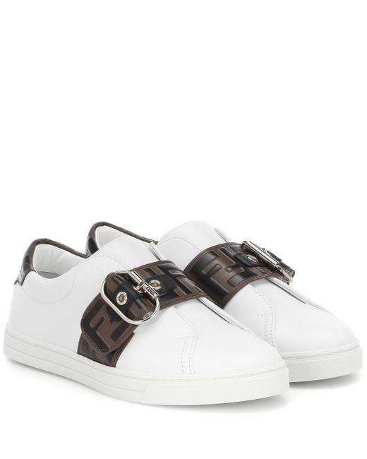 Fendi White Buckled Ff Motif Sneakers