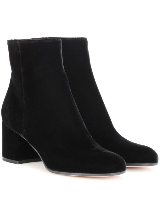Gianvito Rossi - Black Margaux Velvet Ankle Boots - Lyst
