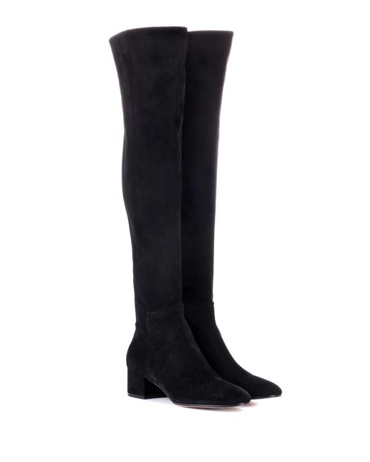 Gianvito Rossi - Black Rolling Mid Suede Over-the-knee Boots - Lyst