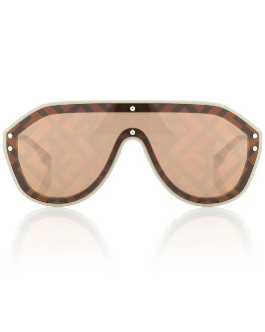 Fendi Brown Ff Shield Metal Sunglasses