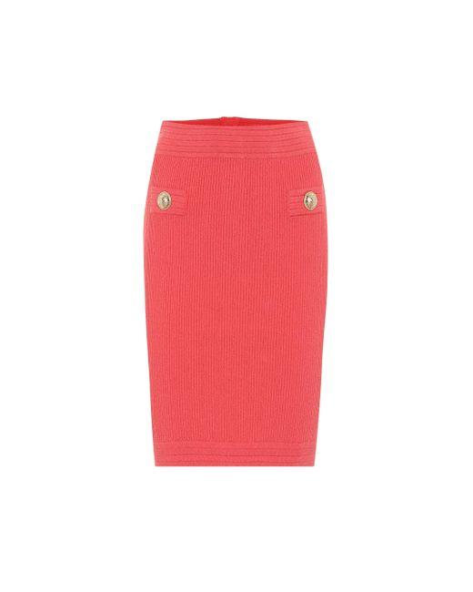 Balmain Pink Bleistiftrock aus Strick